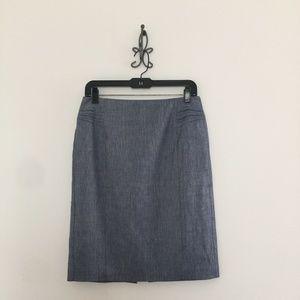 Express High Waisted Pintucked Linen  Blue Skirt
